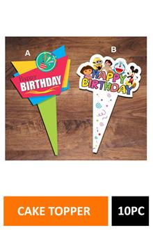 Sig Cake Topper H Bday 10pc Dt2096a